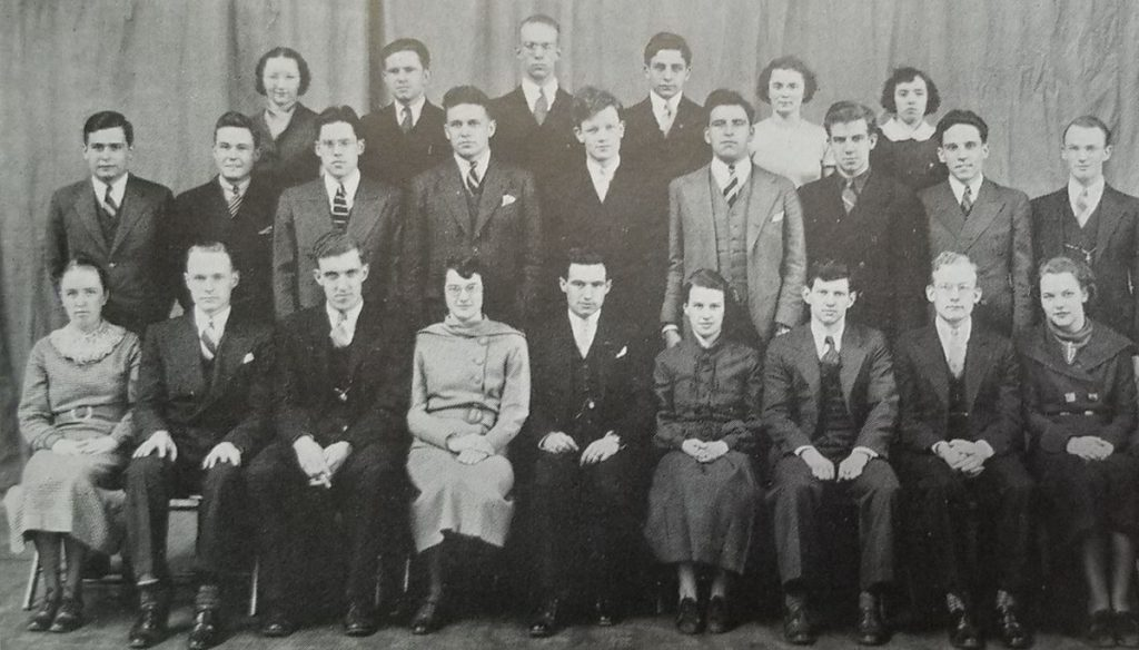 The Bates College debate team pictured in the 1936 yearbook. Edmund Muskie of Rumford, who would go on to become a Maine U.S. senator and U.S. secretary of state, is in the front row, third from the left.
