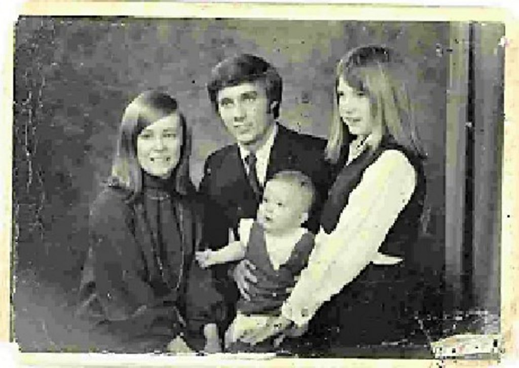 The Ward siblings in the summer of 1970: from left, Anne, Ron, Matthew (held by Ron) and Vicky.