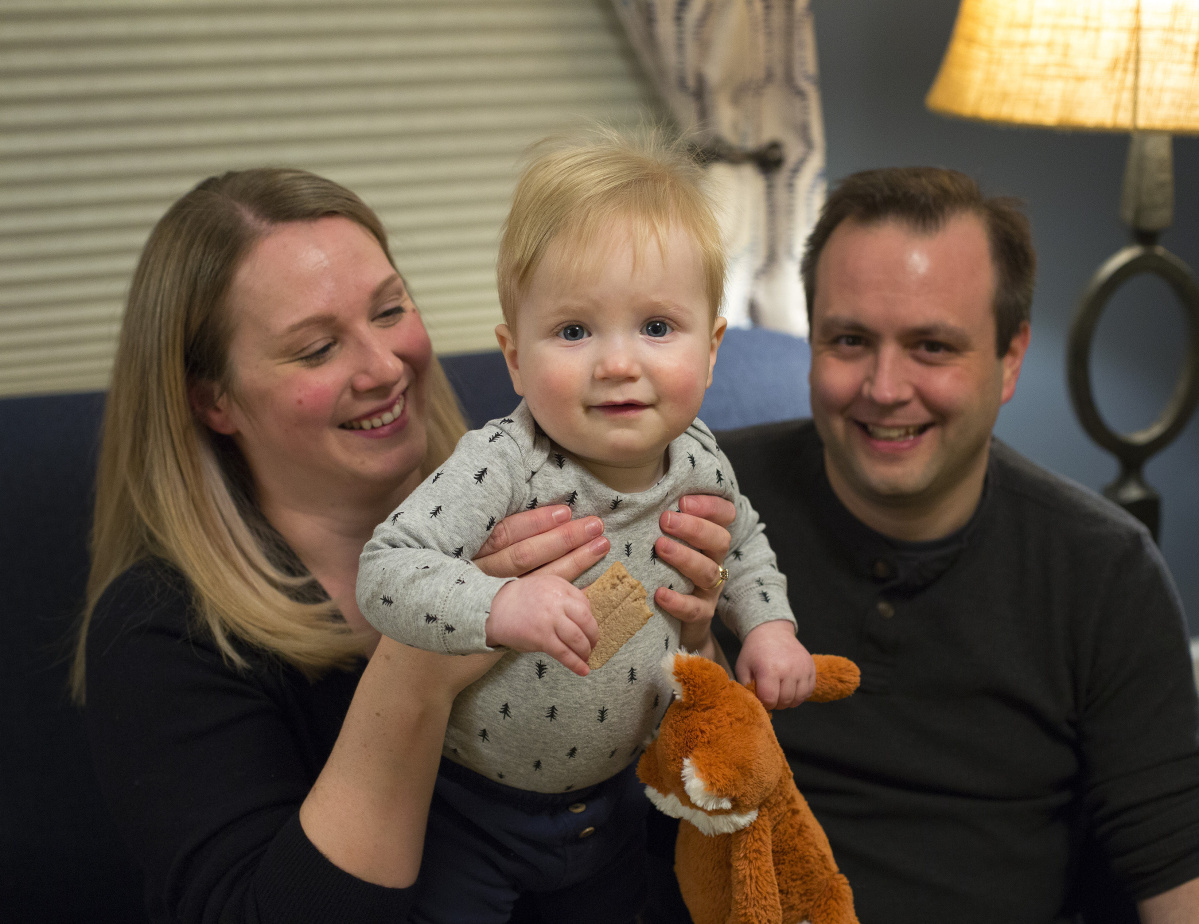 Caitlin Gilmet and Steven Darnley of Portland say before their now-year-old son, Thomas Darnley, was old enough to be inoculated, he contracted chickenpox at a local day care.