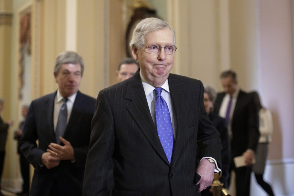 Senate Majority Leader Mitch McConnell, R-Ky. on Capitol Hill on Tuesday.