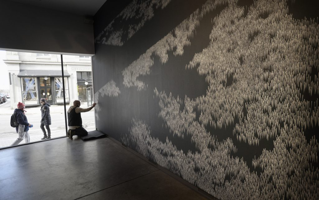 "No studio for Kevin Townsend, who prefers to create in full public view. As passersby wander down Congress Street in Portland, Townsend works on a wall piece that will anchor ""Drawing Now"" at the Institute of Contemporary Art at Maine College of Art."