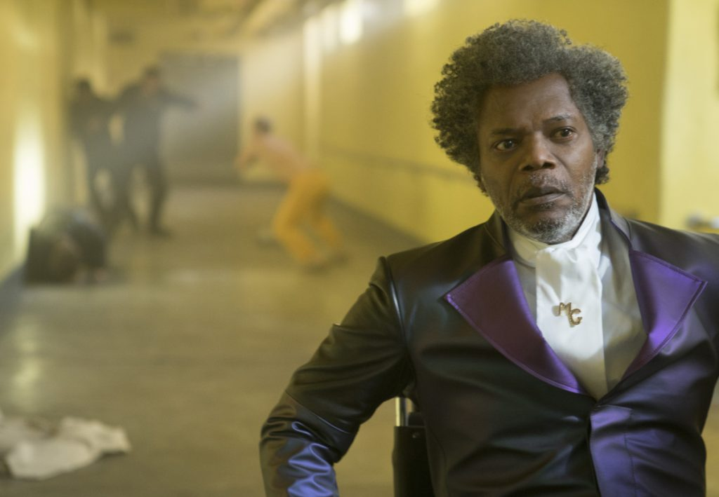 "In image released by Universal Pictures, Samuel L. Jackson appears in a scene from M. Night Shyamalan's ""Glass."""