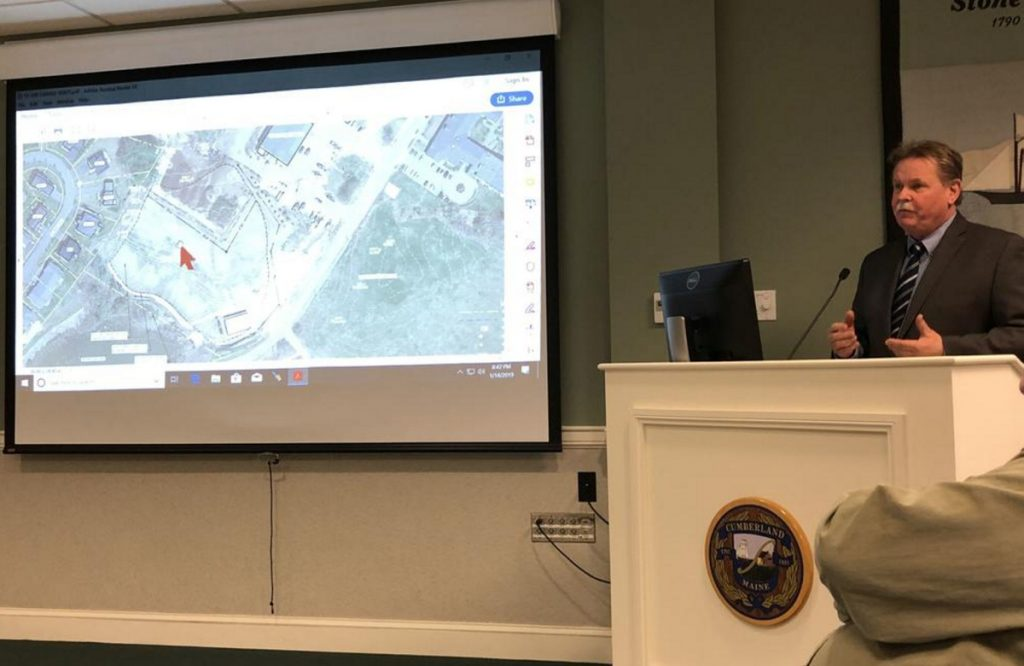 Cumberland Town Manager Bill Shane updates the Town Council on Monday about methane levels recently detected near the Public Works facility.