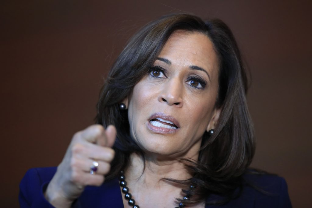 """Sen. Kamala Harris says she's running for president because """"the future of our country depends on ... lifting our voices to fight for our American values."""""""