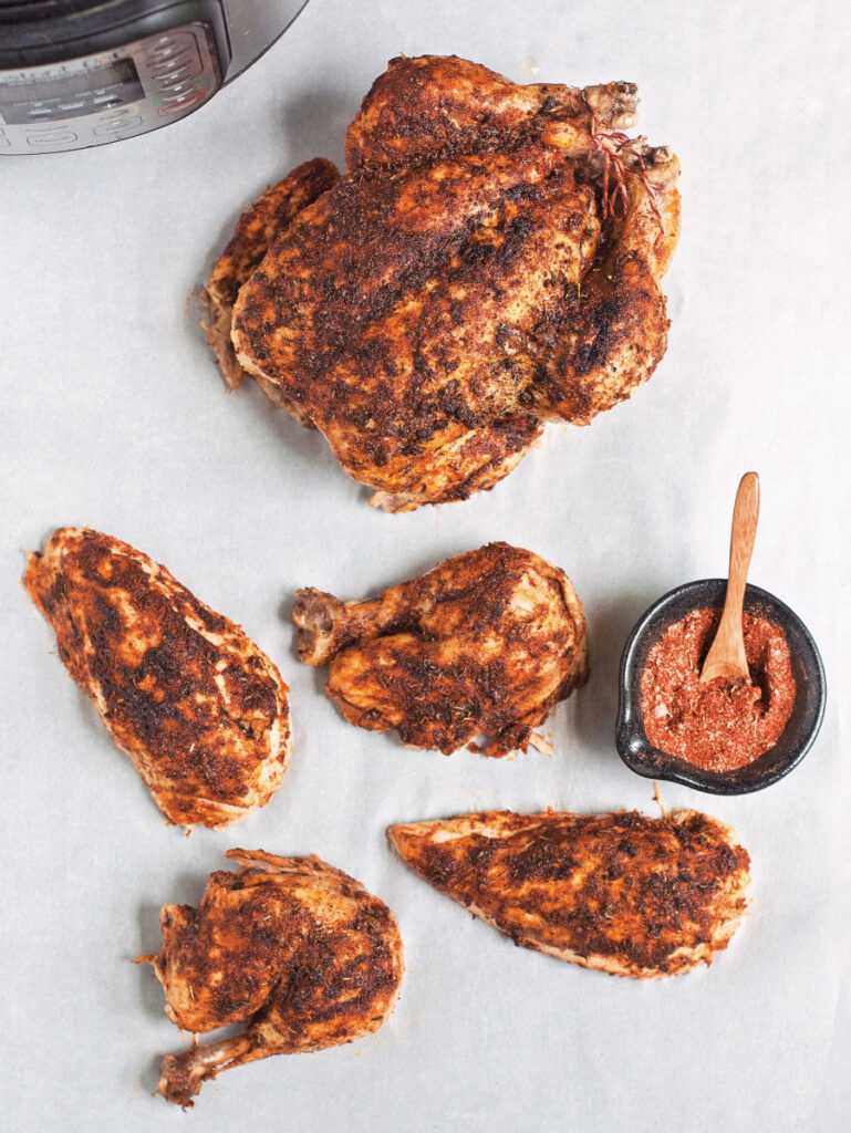 This recipe for Whole 'Rotisserie' Chicken yields four servings.