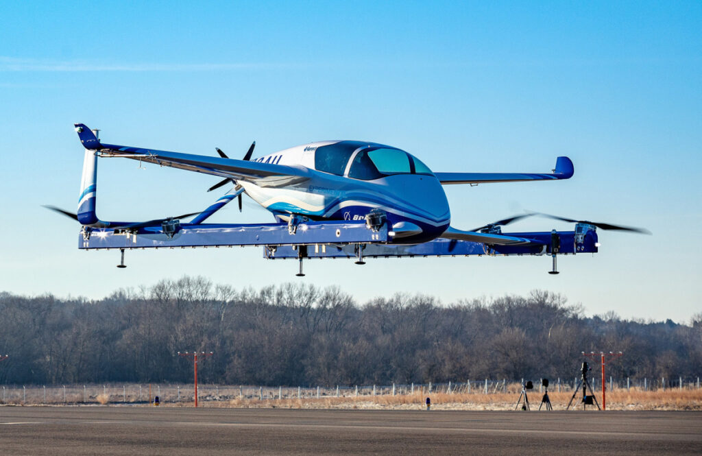 Boeing completed the first test flight of its autonomous passenger air vehicle prototype in Manassas, Va., on Tuesday.