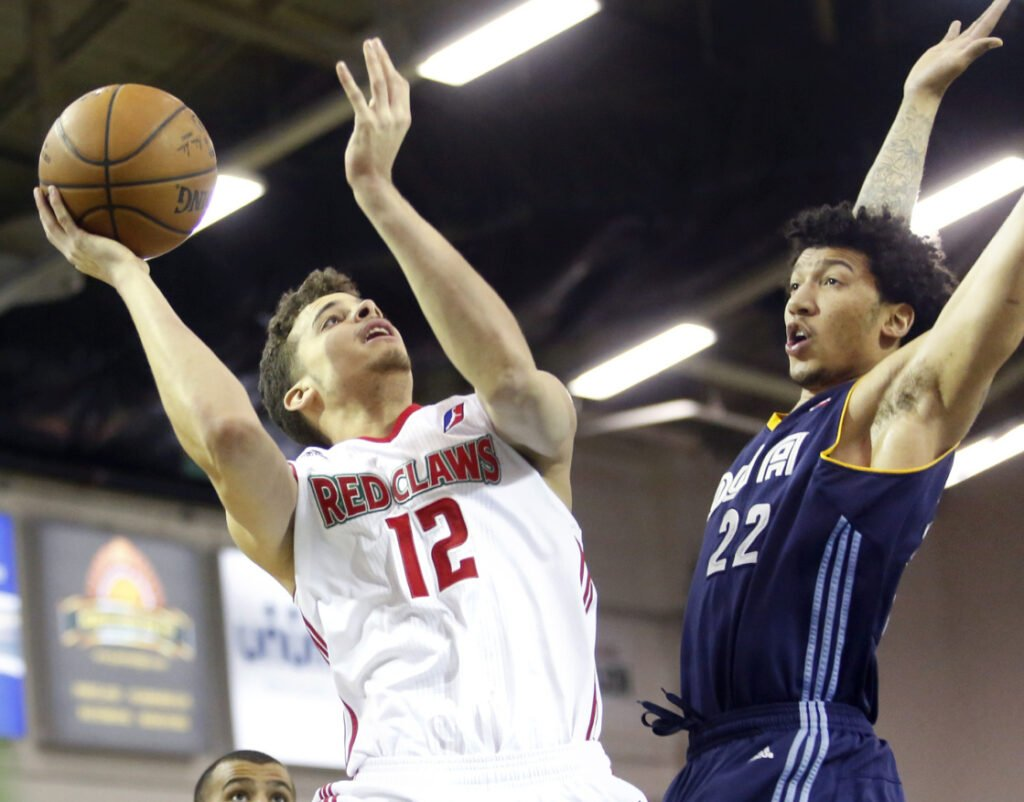 R.J. Hunter, left, a former first-round draft choice who spent significant time with both the Boston Celtics and Maine Red Claws, is back in the organization and hoping to work his way to another NBA opportunity.