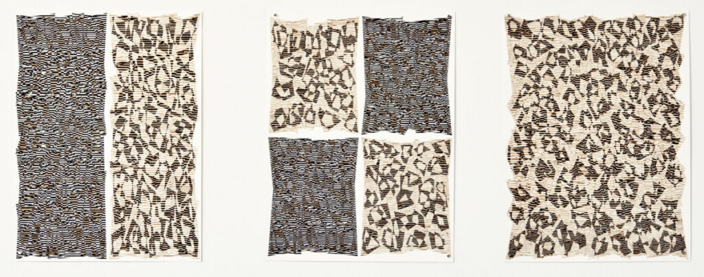 """Ellen Golden, """"It's Just a Matter of Time,"""" """"Change of Heart,"""" """"Polyphony,"""" ink on paper."""