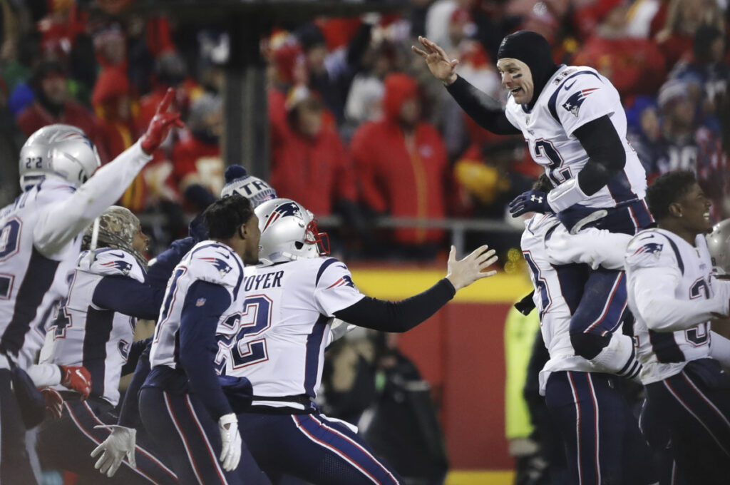 New England Patriots quarterback Tom Brady, shown jumping for joy with his teammates after the AFC Championship NFL game, in Kansas City, Mo., on Sunday, is scheduled to be at the Super Bowl sendoff rally at Gillette Stadium this weekend.