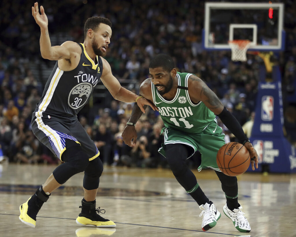 Kyrie Irving of the Boston Celtics, right, and Stephen Curry of the Golden State Warriors are two of the best guards in the NBA, and the games between the teams have been classics.