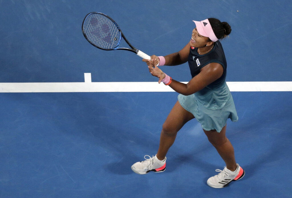 Japan's Naomi Osaka reacts after losing a point to Petra Kvitova of the Czech Republic during the women's singles final at the Australian Open.