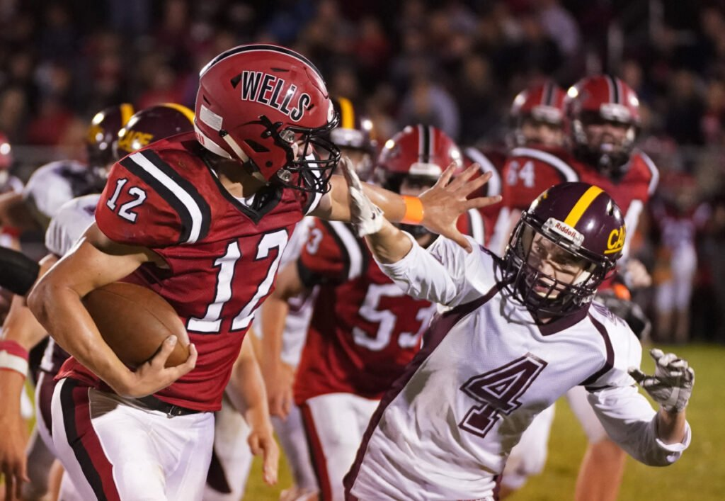 Tyler Bridge of Wells High gained over 3,000 all-purpose yards and set an unofficial state single-season record with 45 touchdowns last fall. (Staff photo by Gregory Rec/Staff Photographer)