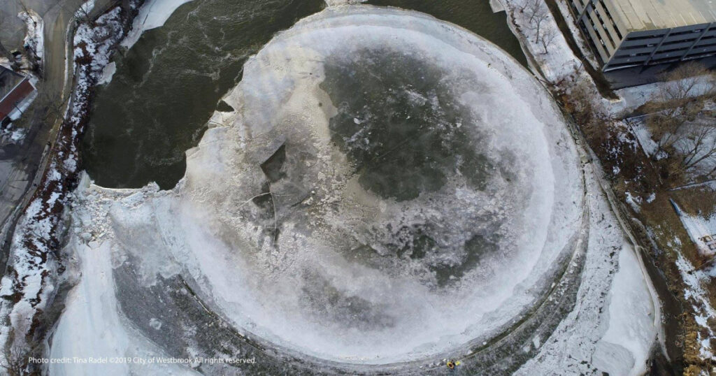 The ice disk is photographed via a drone on Friday, the day after a rainstorm.