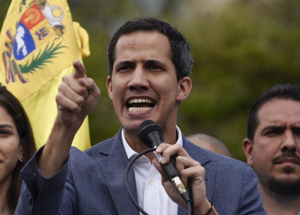 Juan Guaido, president of the National Assembly of Venezuela, speaks during a rally Saturday  in Caracas.