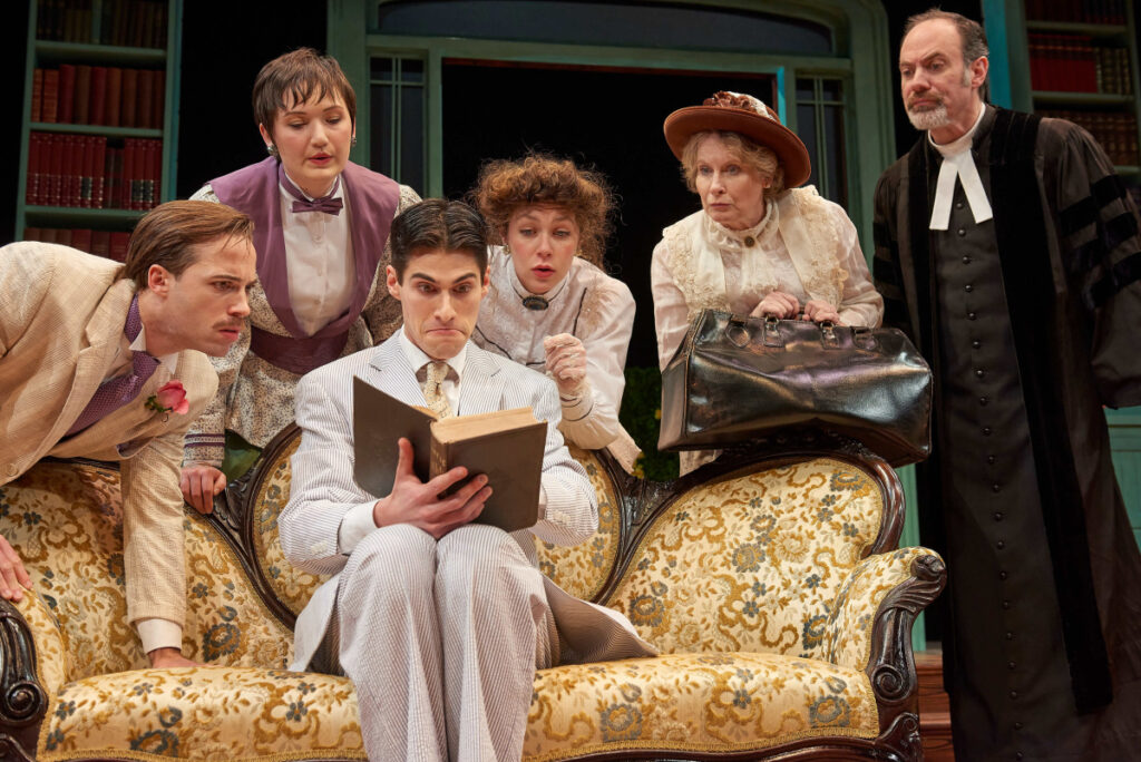 Ross Cowan as Algernon, Tonya Ingerson as Cecily, Max Samuels as Jack, Allie Freed as Gwendolyn, Susan Knight as Miss Prism and Christopher Holt as Reverend Chasuble.