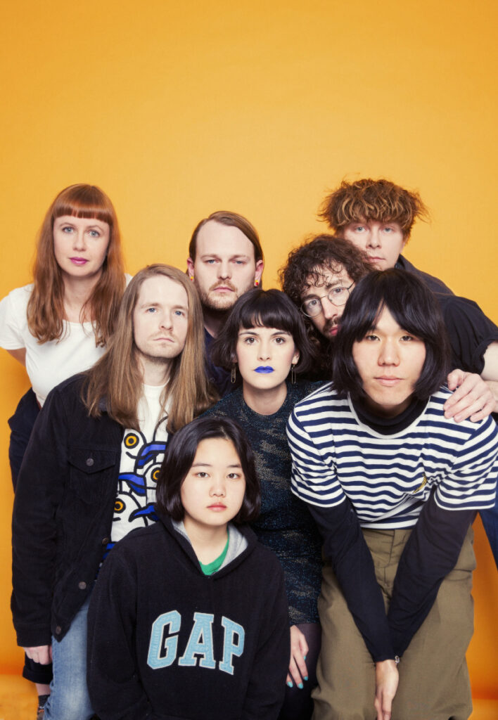 "Orono Noguchi, at bottom wearing ""GAP"" sweatshirt, and the band Superorganism will perform in Portland on May 23."