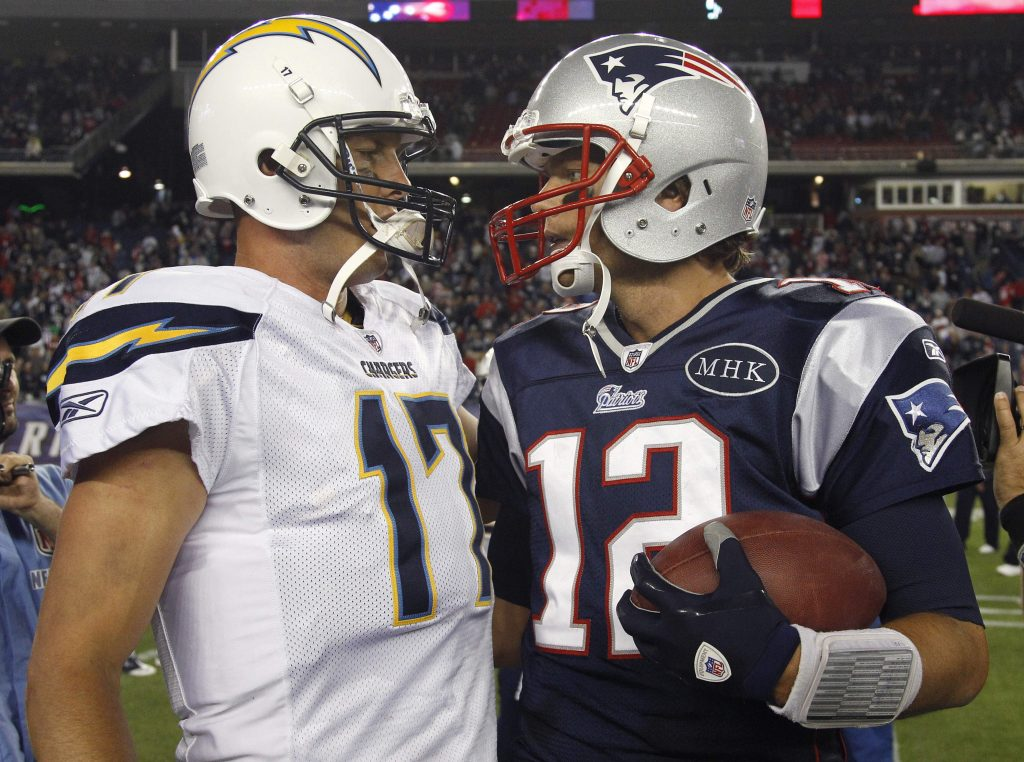 Patriots quarterback Tom Brady, right, and Chargers quarterback Philip Rivers have met seven times, including a 35-21 New England win back in 2011. Overall, Rivers is 1-7 against New England, 0-7 against Brady.