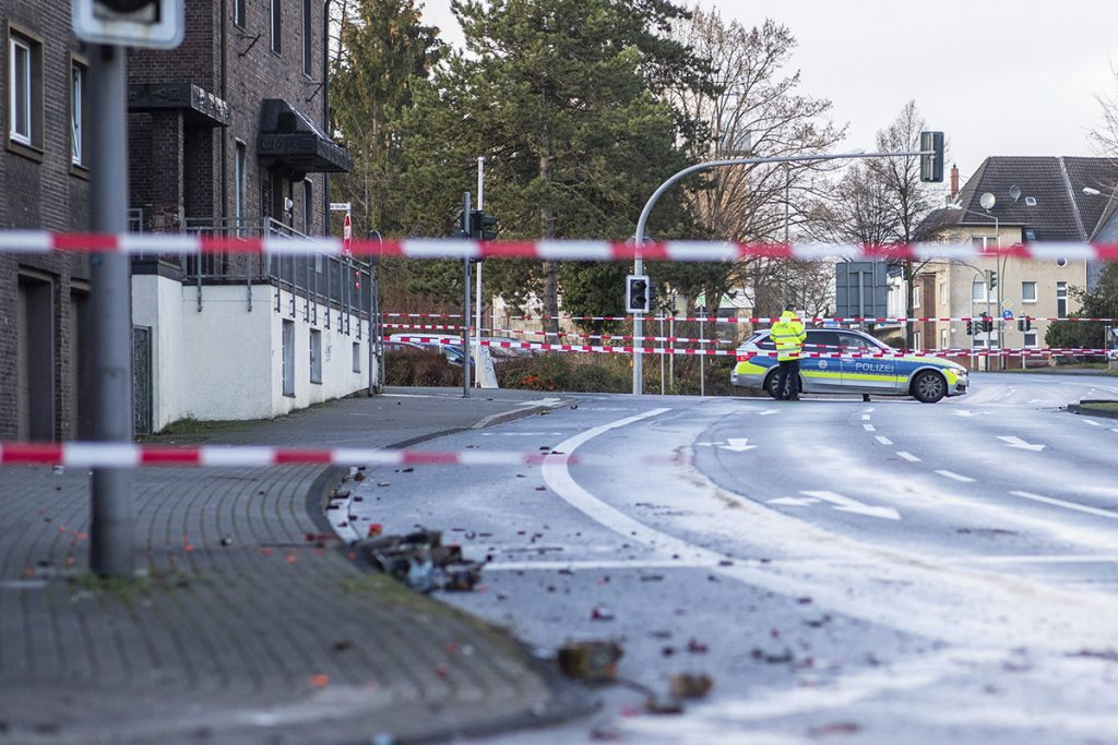Police block a road Tuesday in Bottrop, Germany.