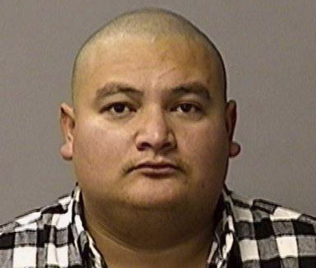 This undated booking file photo provided by the Stanislaus County Sheriff's Department shows Gustavo Perez Arriaga. Prosecutors charged Perez Arriaga on Wednesday, Jan. 2, 2019, with murder in the killing of Newman police Cpl. Ronil Singh. He was arrested Friday in the Dec. 26 shooting during a traffic stop.