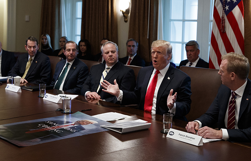 President Trump speaks at a Cabinet meeting at the White House on Wednesday.