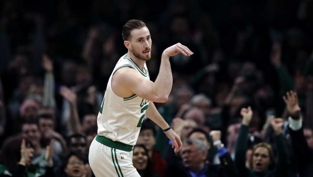 Boston Celtics forward Gordon Hayward (20) gestures after hitting a 3-point basket during the first quarter of the Celtics' 116-95 win over Brooklyn on Monday.