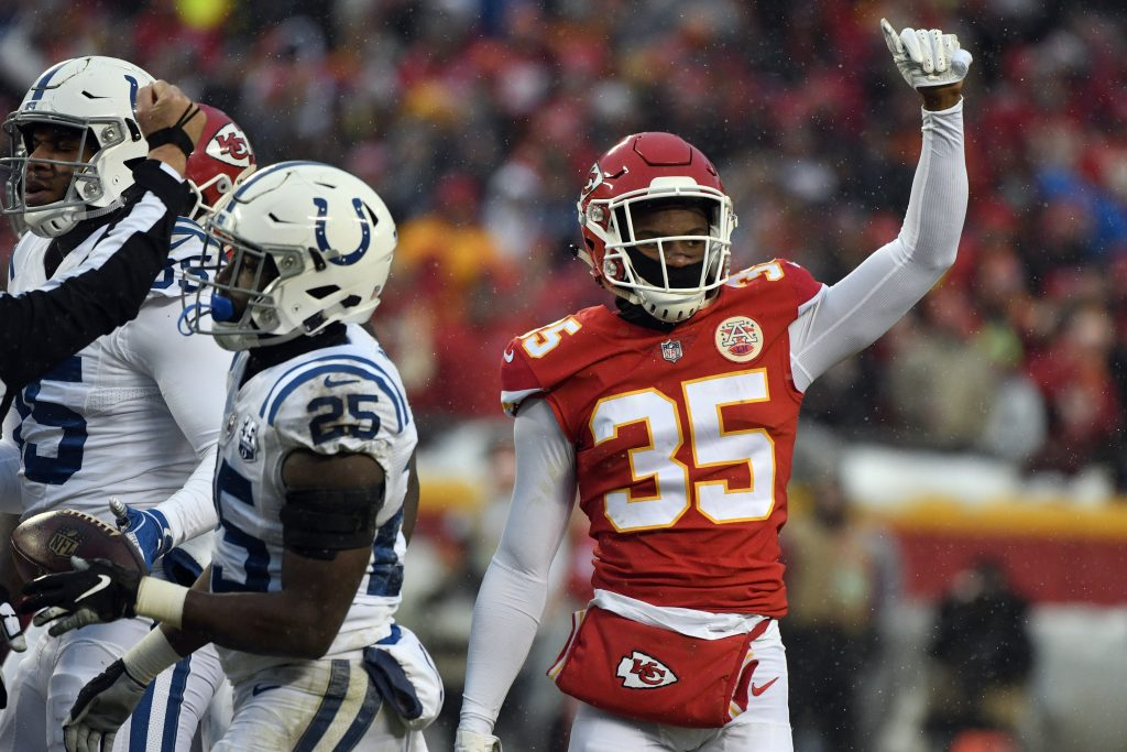 Rookie cornerback Charvarius Ward moved into the starting lineup late in the regular season and helped the Chiefs shut down the Colts in Saturday's playoff game.