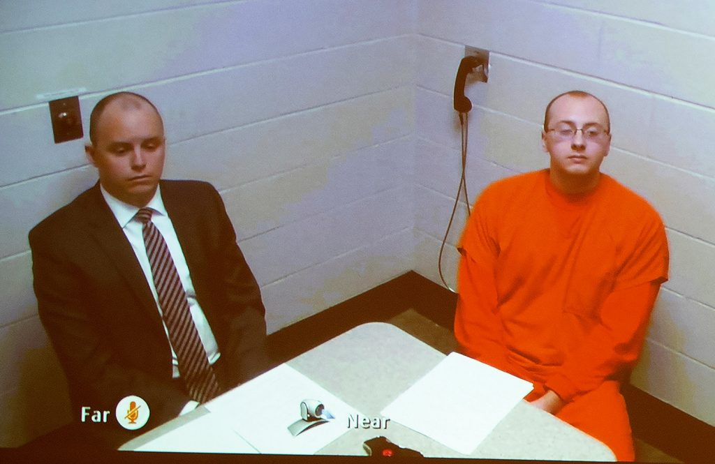 Jake Thomas Patterson makes his first appearance on video before Judge James Babler at the Barron County Justice Center in Barron, Wis., on Monday.