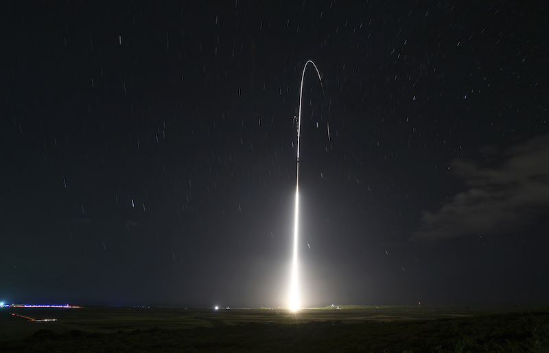 A launch from the U.S. military's land-based Aegis missile defense testing system, that later intercepted an intermediate range ballistic missile, from the Pacific Missile Range Facility on the island of Kauai in Hawaii in December.