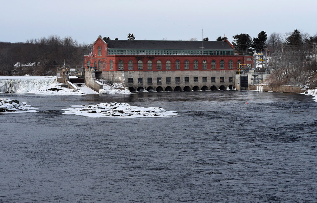 "The Brookfield Renewable hydroelectric facility at the Milford Dam on the Penobscot River, photographed Jan. 19. A plan to test a new technology to help endangered Atlantic salmon has been abandoned, at least for now. Brookfield spokesman Andy Davis said the project's architects discovered a ""significant risk"" to species other than salmon, such as river herring."