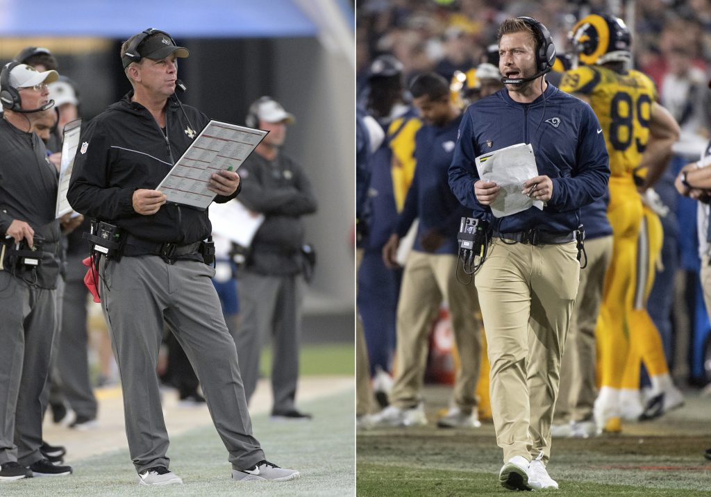 New Orleans Saints head coach Sean Payton, left, and Los Angeles Rams Coach Sean McVay are both Jon Gruden disciples. They will face off in the NFC title game on Sunday.