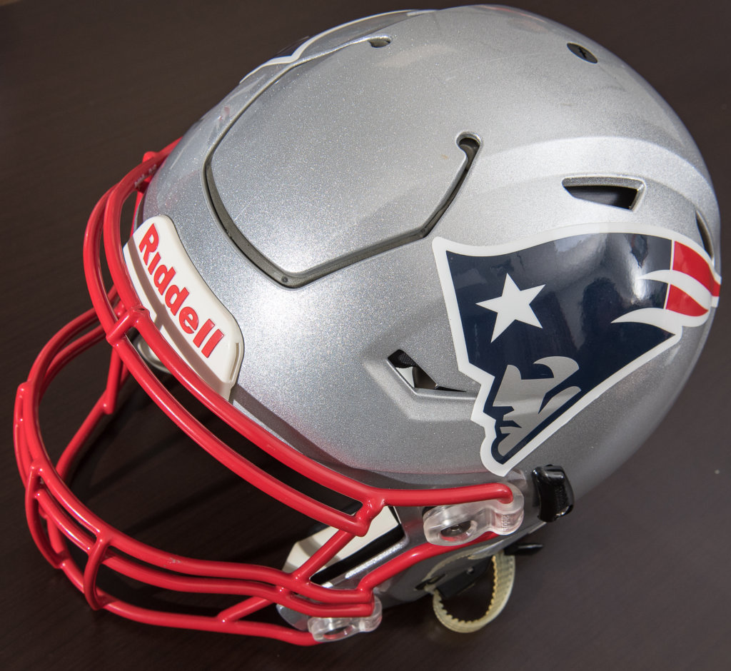 Padding made by Jones   Vining in Lewiston is part of a new-style Riddell  SpeedFlex helmet used by many players in the NFL. 27ae25d67