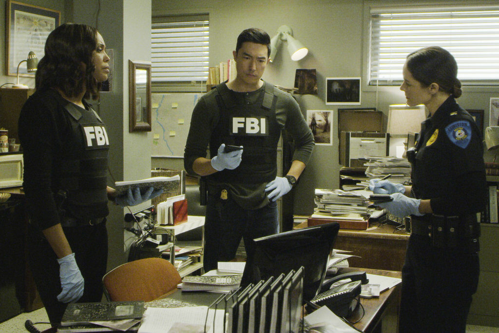 "A Lewiston police officer, right, as depicted in ""Criminal Minds,"" which aired Wednesday night."