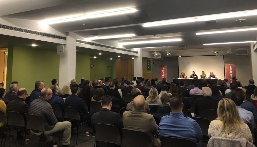 More than 170 people gathered to hear a discussion of innovation in Maine retailers on Jan. 23, 2019 at the Portland Public Library, part of the Portland Press Herald Business Breakfast Forum series.