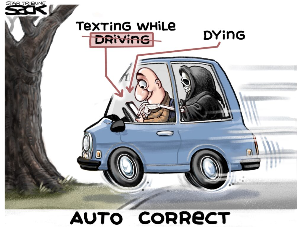 Texting While Driving >> Cartoon Texting While Driving The Times Record