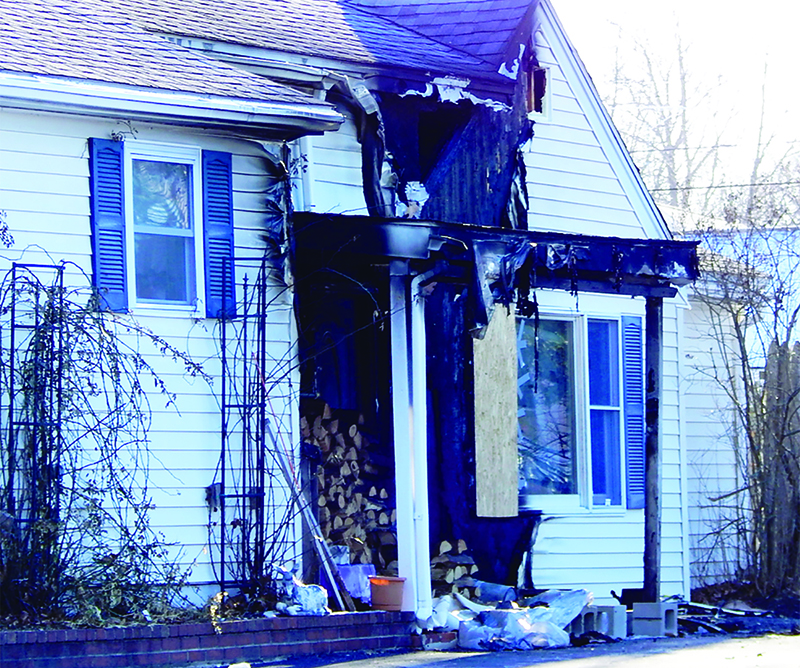 Scene of a house fire at 18 Therrien Ave. in Saco on Wednesday afternoon.