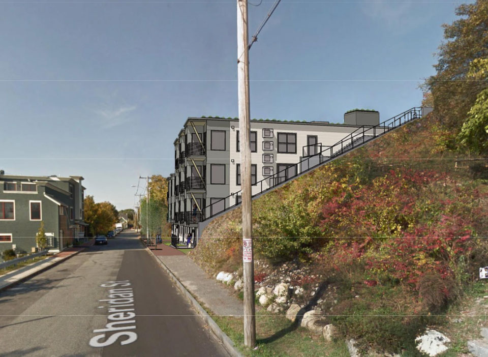A rendering from 2017 shows the proposed condominium building at 155 Sheridan St. on Munjoy Hill in Portland.