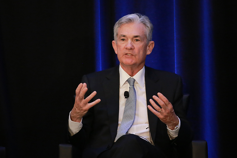 Jerome Powell, chairman of the U.S. Federal Reserve, speaks a meeting in Atlanta on Friday.