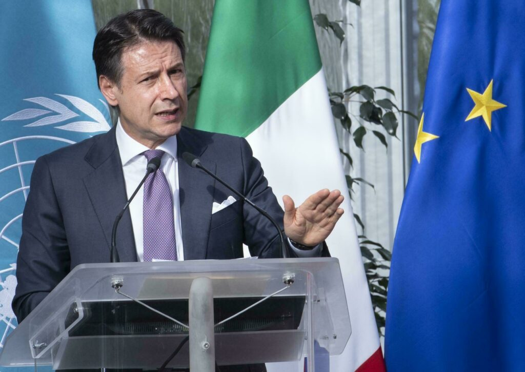 Italian Premier Giuseppe Conte delivering a speech in Rome on Monday.