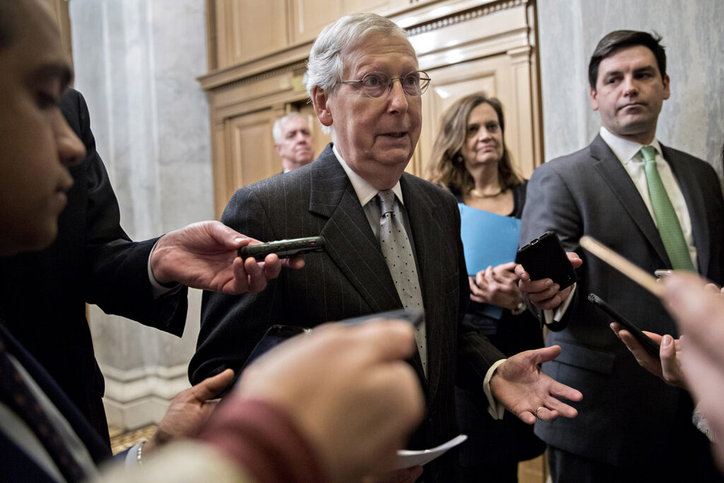"""Senate Majority Leader Mitch McConnell, R-Ky., said of a bill proposing election reforms: """"H.R. 1 would victimize every American taxpayer by pouring their money into expensive new subsidies that don't even pass the laugh test."""""""