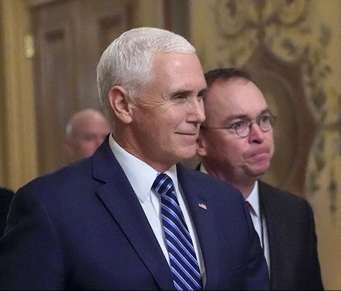 Vice President Mike Pence with acting-White House Chief of Staff Mick Mulvaney in December.