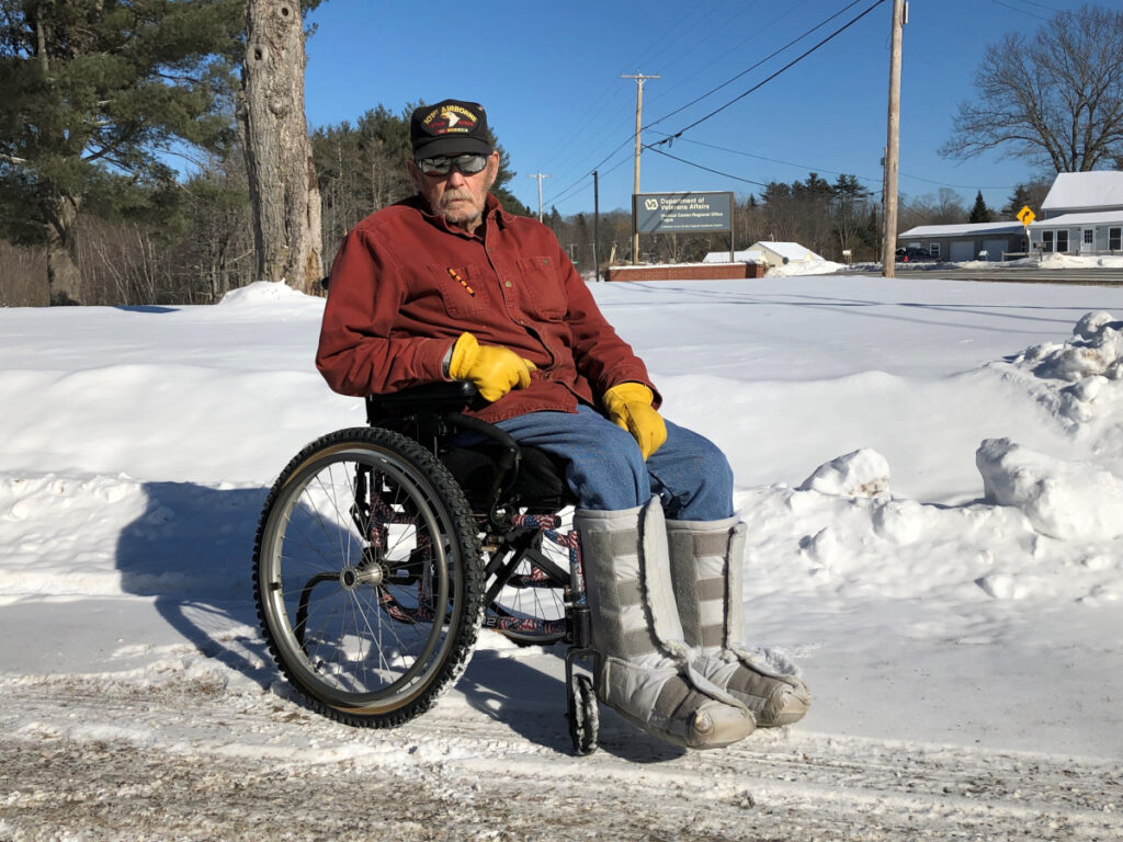 Vietnam veteran Ron Wills poses for a photo Friday outside the Togus VA facility in Augusta.