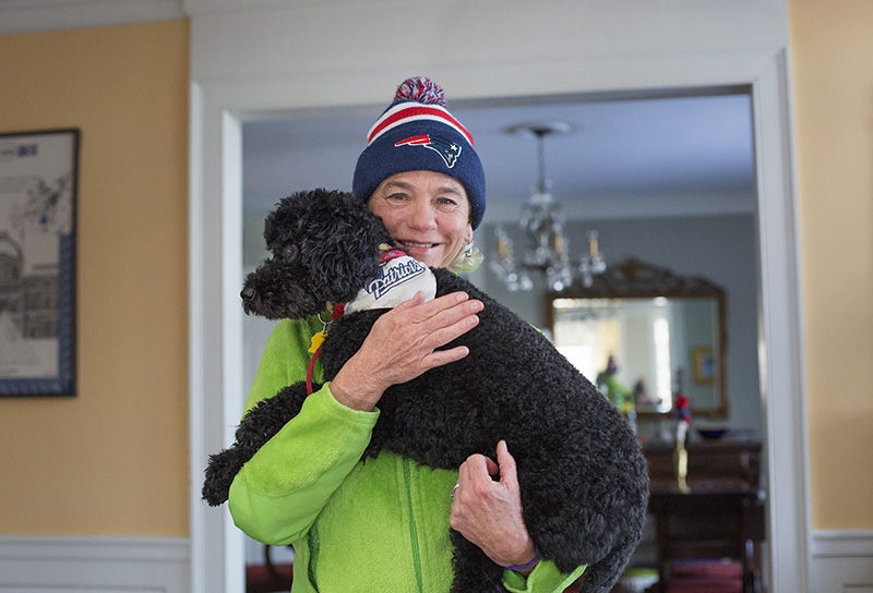 42a7dc64c A South Portland Brady and his owner and fellow fan Jane Batzell