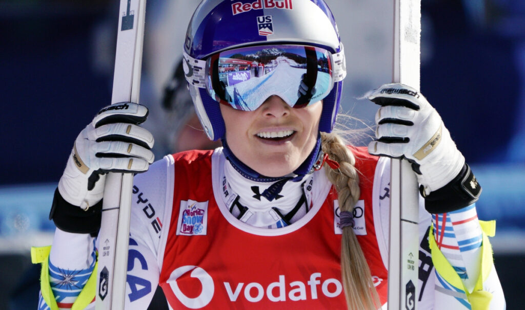 In this Friday, Jan. 18, 2019, file photo, United States' Lindsey Vonn smiles after completing the women's World Cup downhill ski race in Cortina D'Ampezzo, Italy. Vonn announced Friday, Feb. 1, 2019, that she will retire from ski racing after this month's world championships in Sweden (AP Photo/Giovanni Auletta, File)