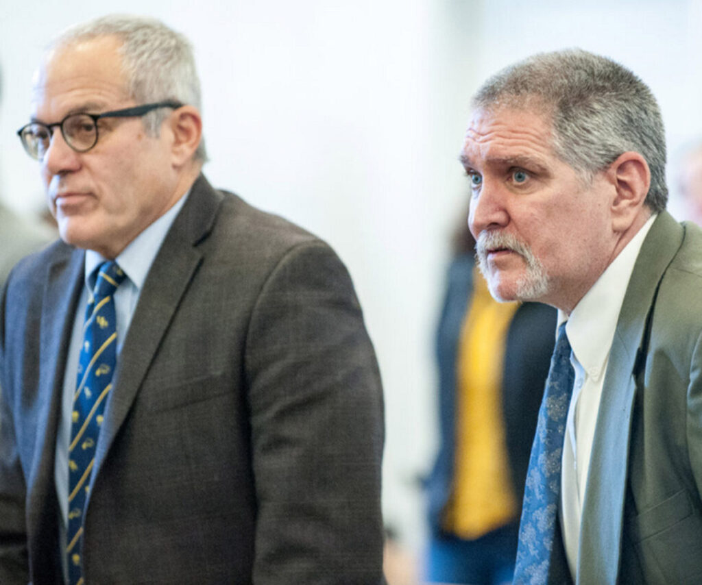 "James E. ""Ted"" Sweeney, right and his attorney, Walter Hanstein, stand as Justice William Stokes enters Franklin County Superior Court on Friday morning in Farmington, where Sweeney was found guilty of murder."