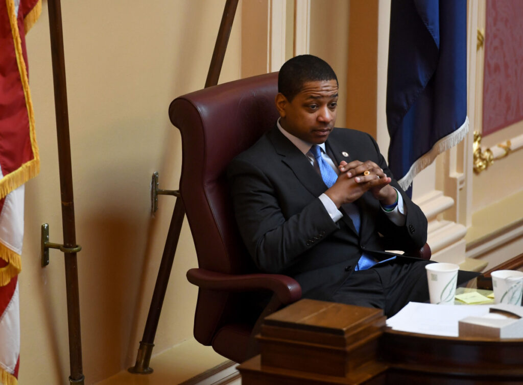 Virginia Lt. Gov. Justin Fairfax, a Democrat, presides over the Senate on Monday in Richmond. He has denied a sex-assault allegation from 2004.