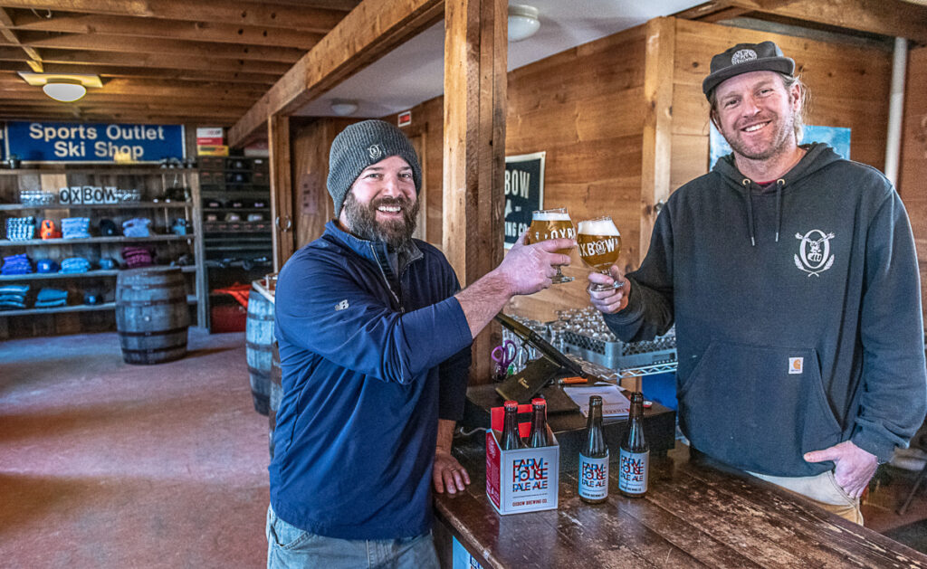 Jesse Hill, left, and Tim Adams hope to have the Oxbow Beer Garden open by spring. Oxbow also has a Portland location.