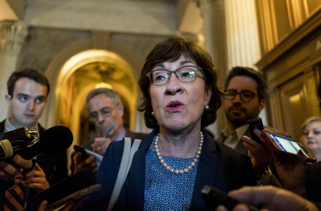 Liberal groups focused their ire on Sen. Susan Collins of Maine for her support of the nomination of Brett Kavanaugh.