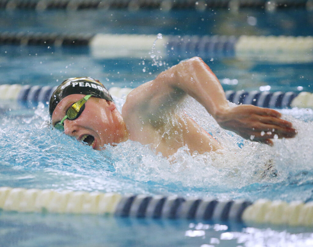 Brim Peabody of Cheverus heads to the finish Friday night on his way to winning the 500-yard freestyle at the North Southwesterns. Peabody also took the 200-yard freestyle and was named the Performer of the Meet.