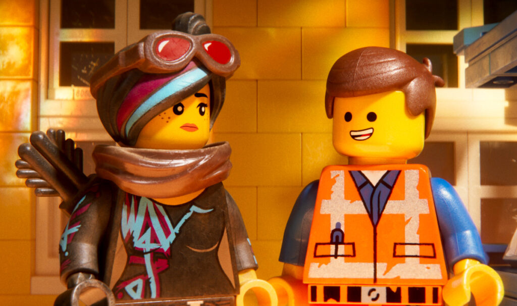 "Lucy (voice of Elizabeth Banks) and Emmet (Chris Pratt) in ""The Lego Movie 2: The Second Part."""