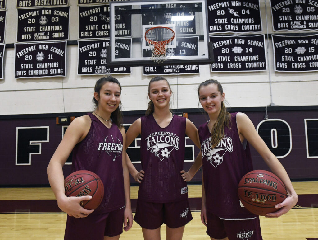 Caroline Smith, left, Rachel Wall and Catriona Gould have led Freeport to a 14-4 record and third place in Class B South as the playoffs begin. Smith is the lone returning starter from last year's team that lost in the regional final.